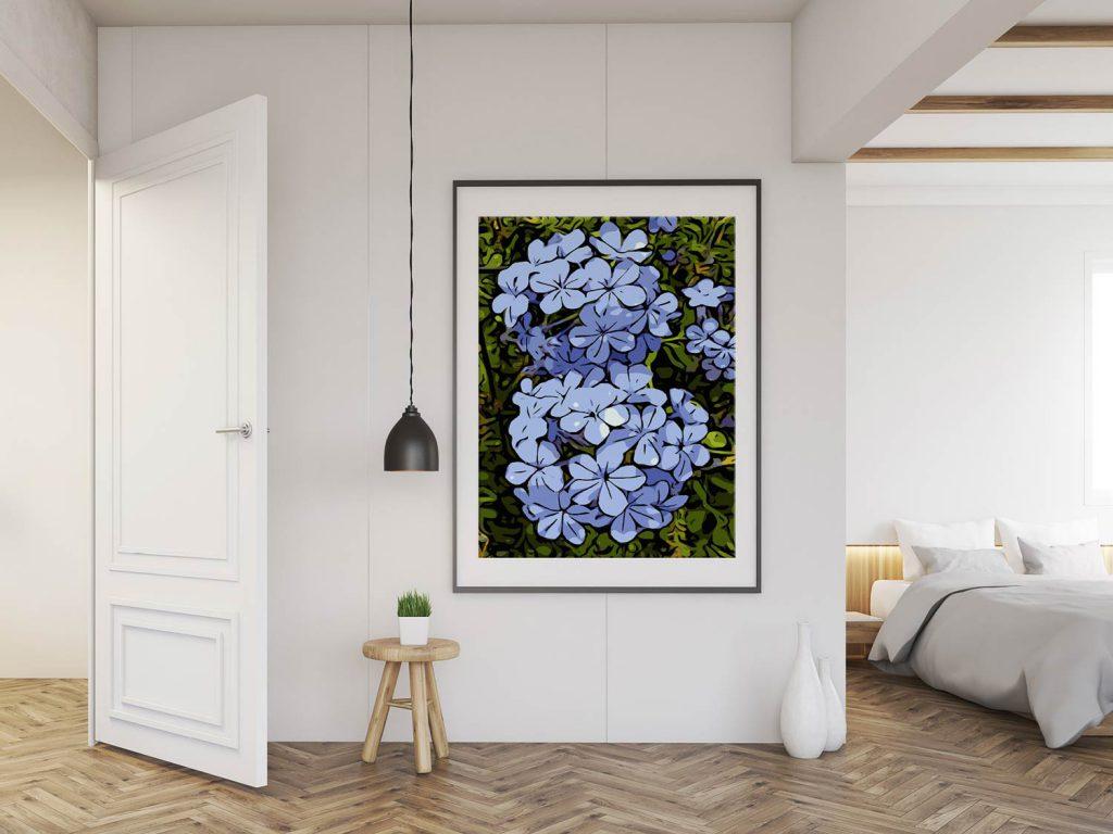Blumenposter im Schlafzimmer
